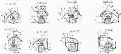 Схемы разворотов дымососов Д-20x2 и Д-18x2