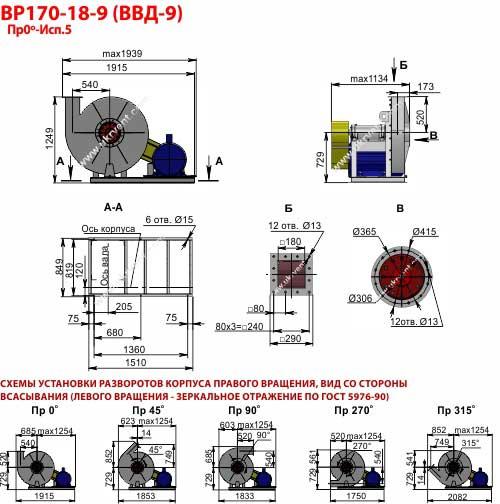 Вентиляторы высокого давления ВВД 9, Габаритные размеры ВВД 9, Вентилятор ВВД9, характеристики вентиляторов высокого давления ВВД9, Купить, Цена, Харьков, Украина вентиляторный завод Укрвентсистемы
