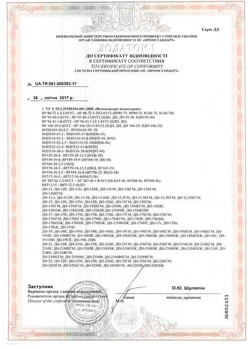 Cертифікат відповідності Вентиляторный завод Укрвентсистемы