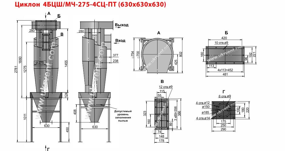 Циклон 4БЦШ-275-4СЦ с постаментом