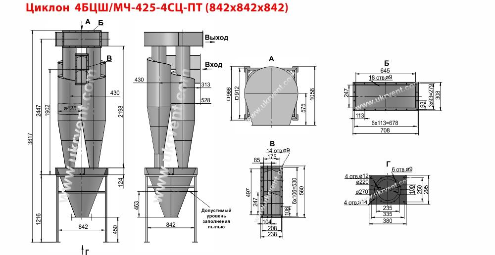 Циклон 4БЦШ-425-4СЦ с постаментом